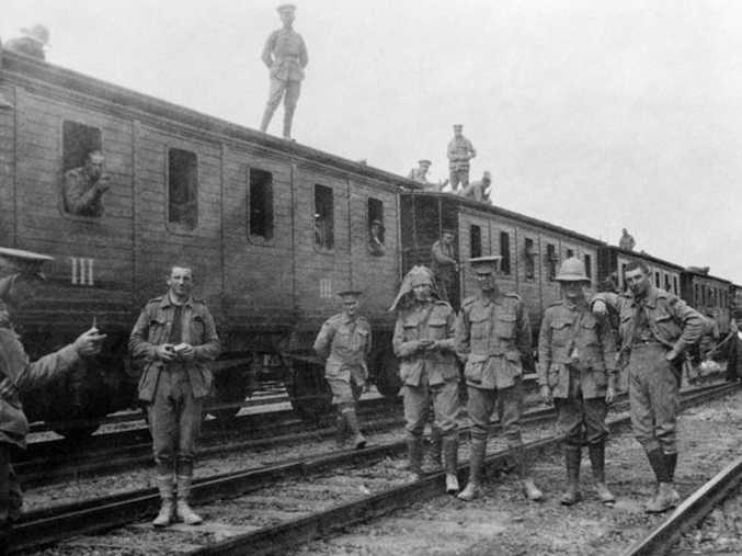 Members of the 3rd Battalion, 1st AIF, are about to board a train on April 4, 1915, to Alexandria, where they will meet troopships that will eventually take them to Gallipoli. Courtesy of Australian War Memorial P02282.007
