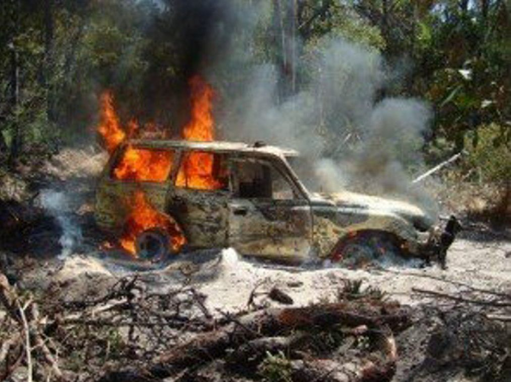 Rural firefighters extinguished a vehicle fire on Fraser Island before it spread to nearby bush.