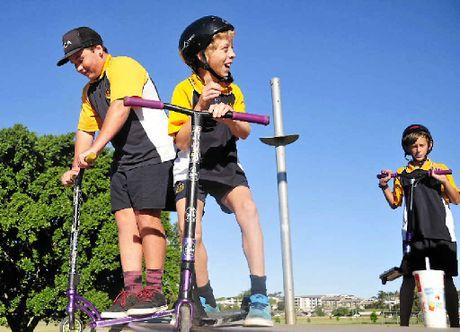 SHADY SKATERS: Dan Lyons, 15 and Darcy Davidson, 12 are looking forward to having shade sails again.
