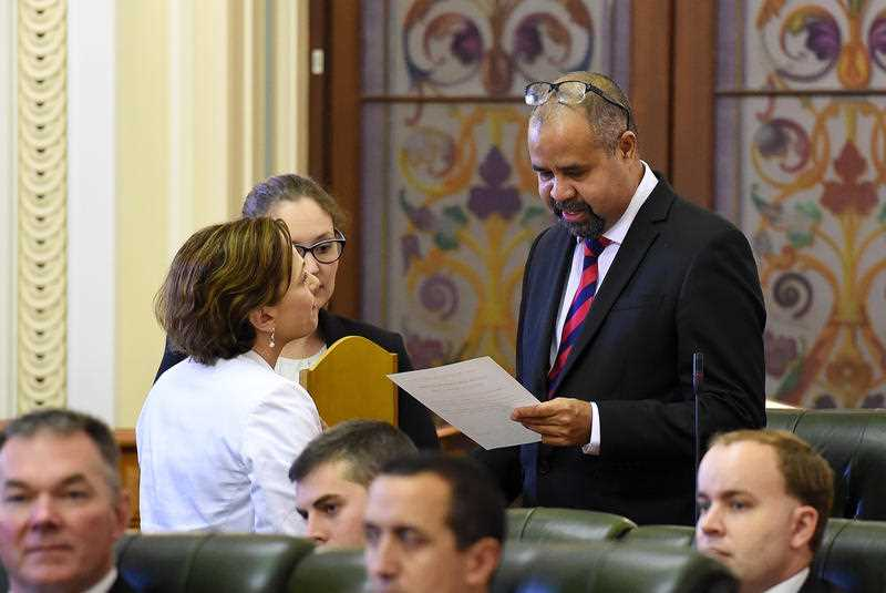 Queensland MP Billy Gordon is sworn-in at Parliament House in Brisbane, Tuesday, March 24, 2015. All 89 Members of Parliament as well as the Speaker of the House were sworn-in today.