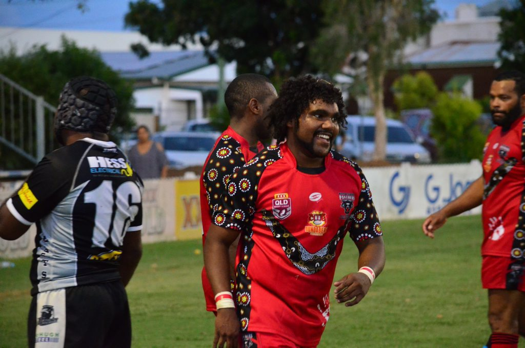 WINNERS ARE GRINNERS: Wests' Will Nagas celebrates his try in the Panthers' 40-24 win over Easts Magpies.