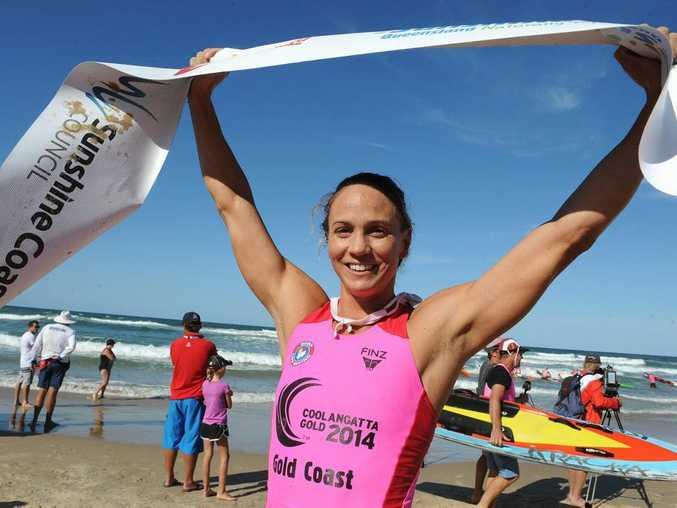 Queensland Surf Life Saving Championships at Maroochydore. Rebecca Creedy wins the Ironwoman ahead of Mooloolaba's Kirsty Higginson. Photo: Warren Lynam / Sunshine Coast Daily
