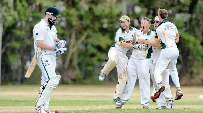 ON YOUR WAY: Gracemere bowler Justin Peacock and team mates celebrate the departure of Frenchville captain Joe McGahan (left) for 16 in the latter stages of the Frenchville Sports Club A-grade grand final.