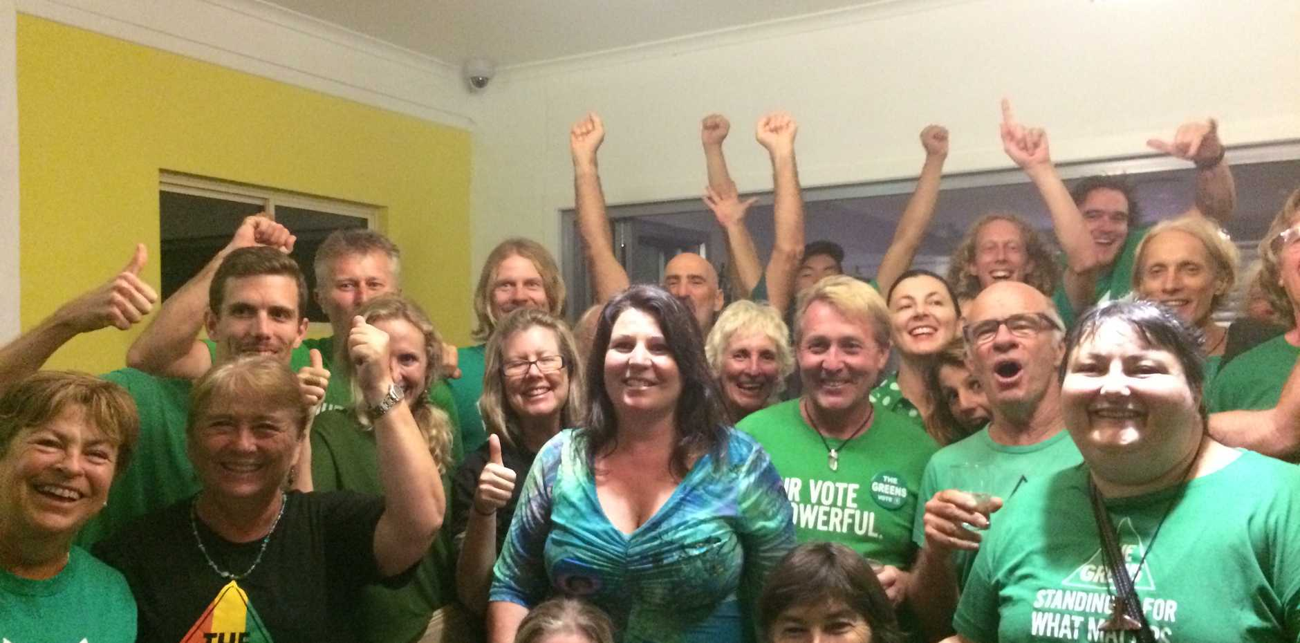 Greens candidate for Ballina Tamara Smith (centre) alongside loyal supporters on election night in Ocean Shores