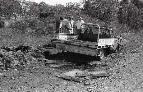 The burnt-out ute in which Geoff Lange's body was found.