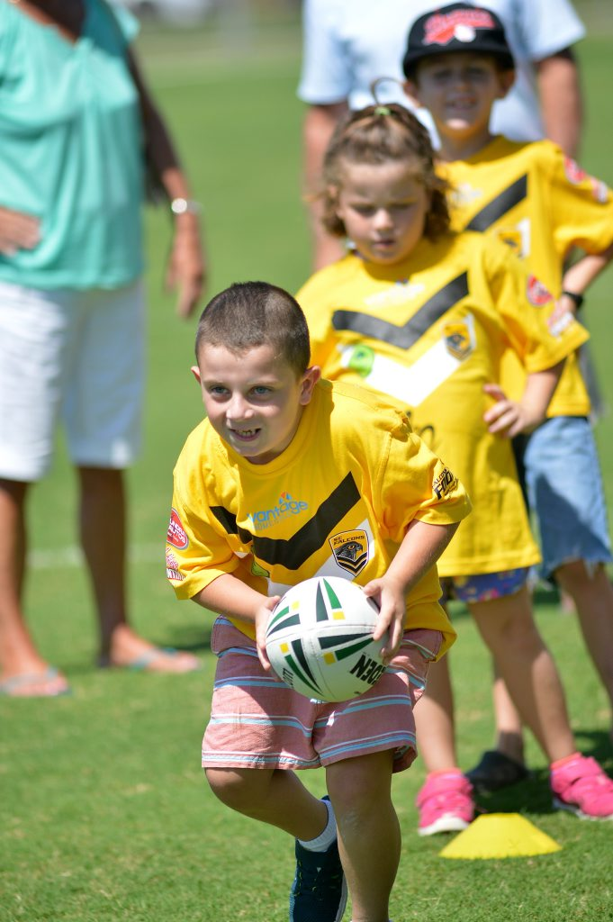 Falcons footy for children of different abilities. Kaiden Cooper,8, from Marcoola looks to score. Photo: Warren Lynam / Sunshine Coast Daily