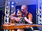Mason Rack invited Adelaide Bishop, 9, onto stage at the 2015 Agnes Blues, Roots and Rock Festival.