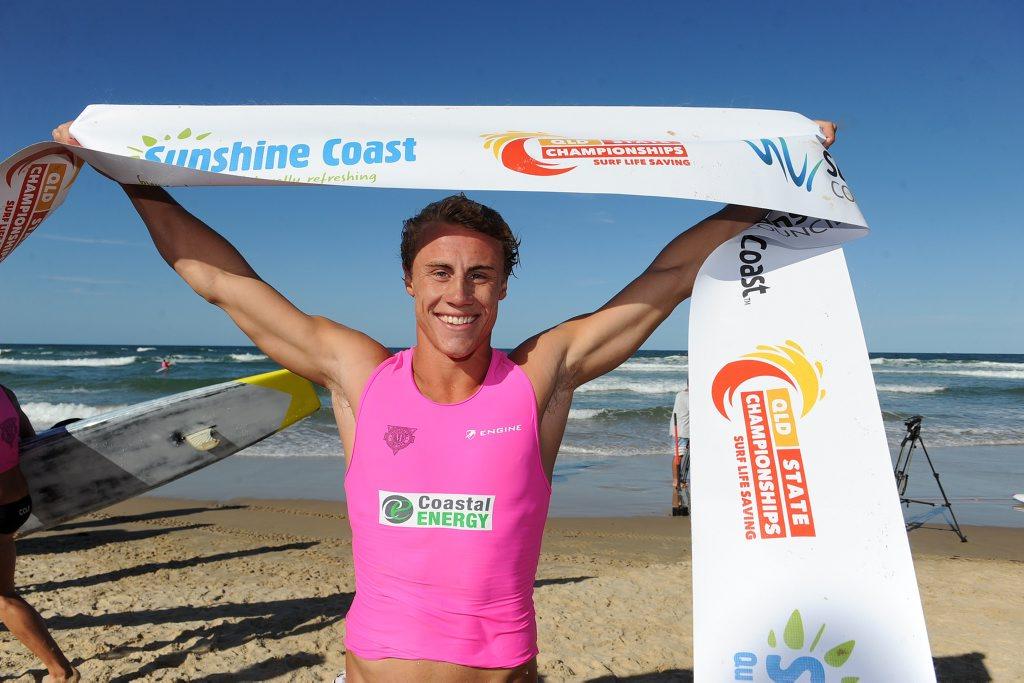 Queensland Surf Life Saving Championships at Maroochydore. Mooloolaba's Matt Bevilacqua wins the men's race Photo: Warren Lynam / Sunshine Coast Daily