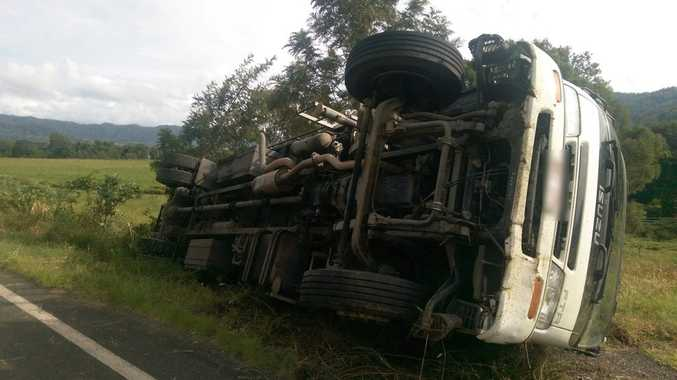 A truck rolled over at Roseberry, near Kyogle, this morning.