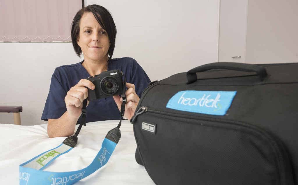 IN MEMORY: Grafton Base Hospital clinical midwifery specialist Katie Dobbin with the camera kit sent from the Heartfelt charity to capture images for parents of stillborn babies.