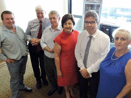CFMEU Queensland district president Steve Smyth, Federal MP Bob Katter, Mirani MP Jim Pearce, Isaac Mayor Anne Baker, QCU president John Battams and Capricornia MP Michelle Landry unite against 100% FIFO.