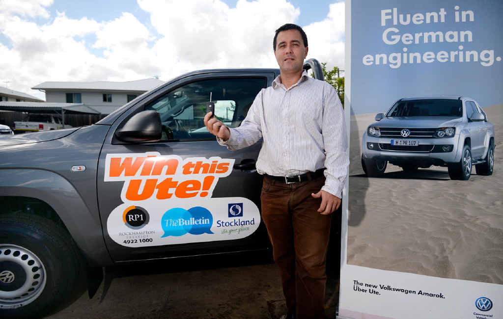 """TORQUE OF THE TOWN: Rockhampton Prestige's Brad McBain wants to give you the keys to this Volkswagen ute up for grabs in the """"Win a Ute"""" competition."""