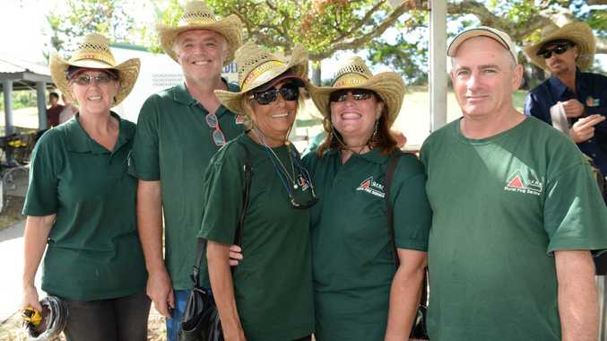 Tanby Rural Fire Fighters L-R Karlie Nieuwnhuis, Rob Walden, Ann Scott, Margie Walden and Robert Pollock at the Bell Park function to thank their efforts an those of the SES in the wake of Cyclone Marcia. Photo: Chris Ison / The Morning Bulletin