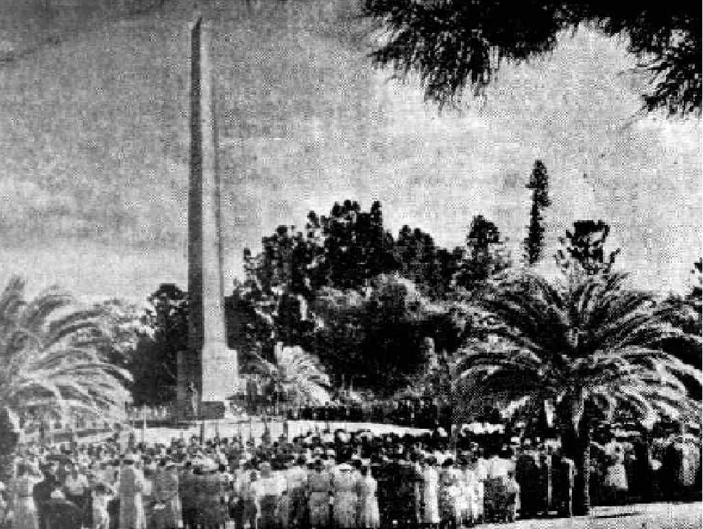 Huge crowds turned out to this 1950's Anzac service at the Botanic Gardens Cenotaph.