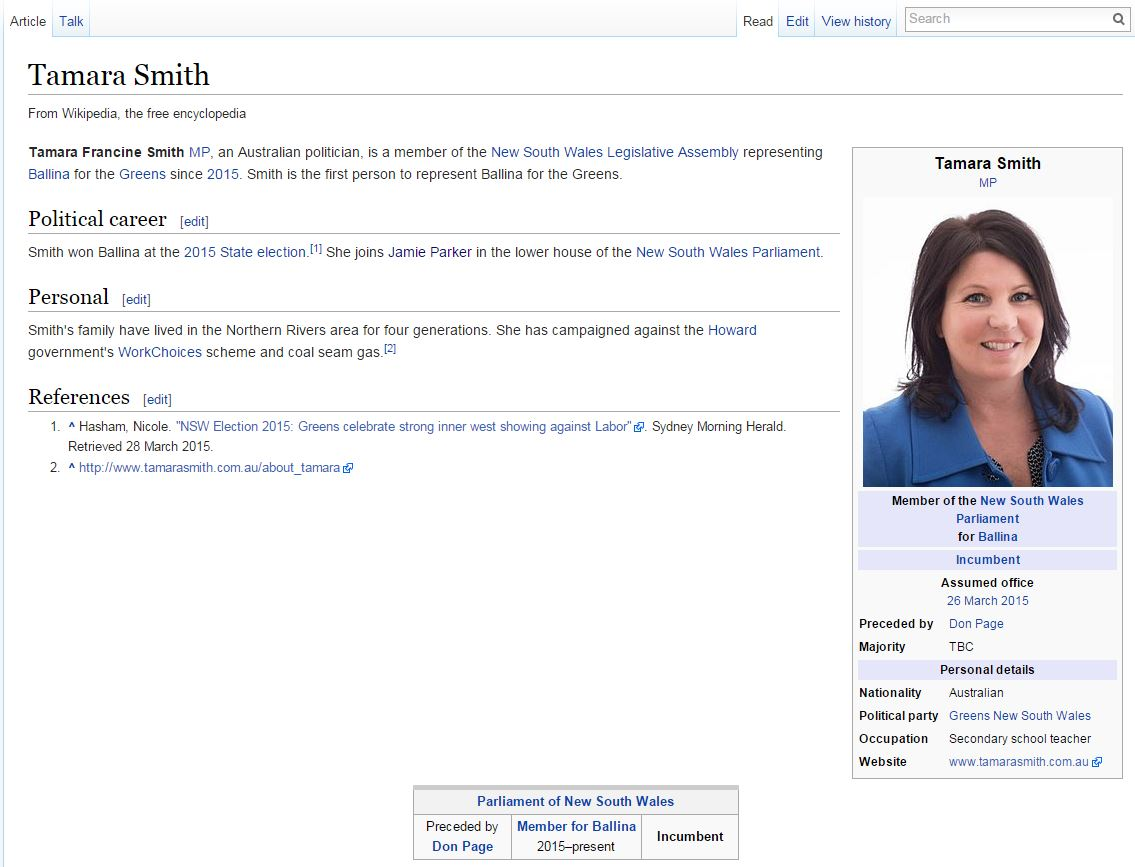 Tamara Smith's Wikipedia entry, as of 3pm, March 31.