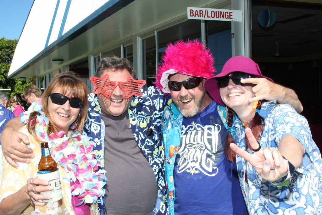 The VIC team, Wendy Maclachlan, Al Morris, Mark Abbott and Boni Holmes, go Hawaiin at the Crime Stoppers Lawn Bowls Fundraiser last year.