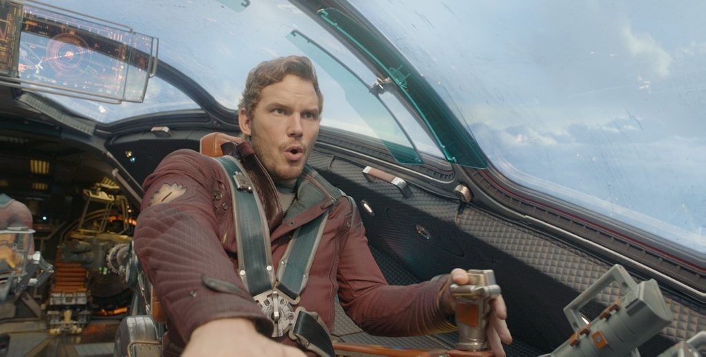 HERE WE GO: Chris Pratt in a scene from the movie Guardians Of The Galaxy. Photo by Marvel.