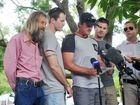 Press conference at the Grafton Police Station about Sharon Edwards being missing, which has now become murder. Three sons are Josh [who spoke], Zac and Eli with their Dad John Edwards. Photo: Leigh Jensen / Daily Examiner April 1, 2015