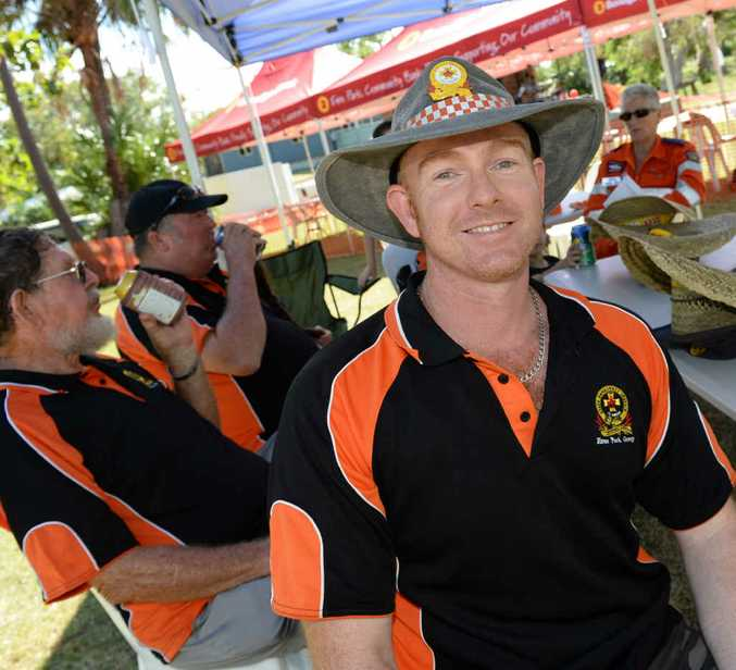 FUNDRAISER: Ed Barrett and his fellow SES volunteers at the Bell Park function to thank their efforts along with Rural Fire Fighters in the aftermath of Cyclone Marcia.