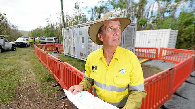 ON THE GROUND: Bob Pleash from Ergon Energy at the site in Byfield where they set up a