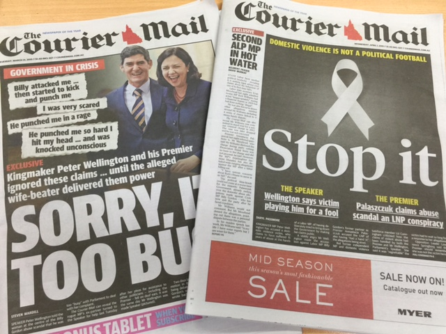 The front page of The Courier-Mail yesterday blasted Peter Wellington.  Today, the paper blasted those using domestic violence as a political football. The ultimate hypocrisy?