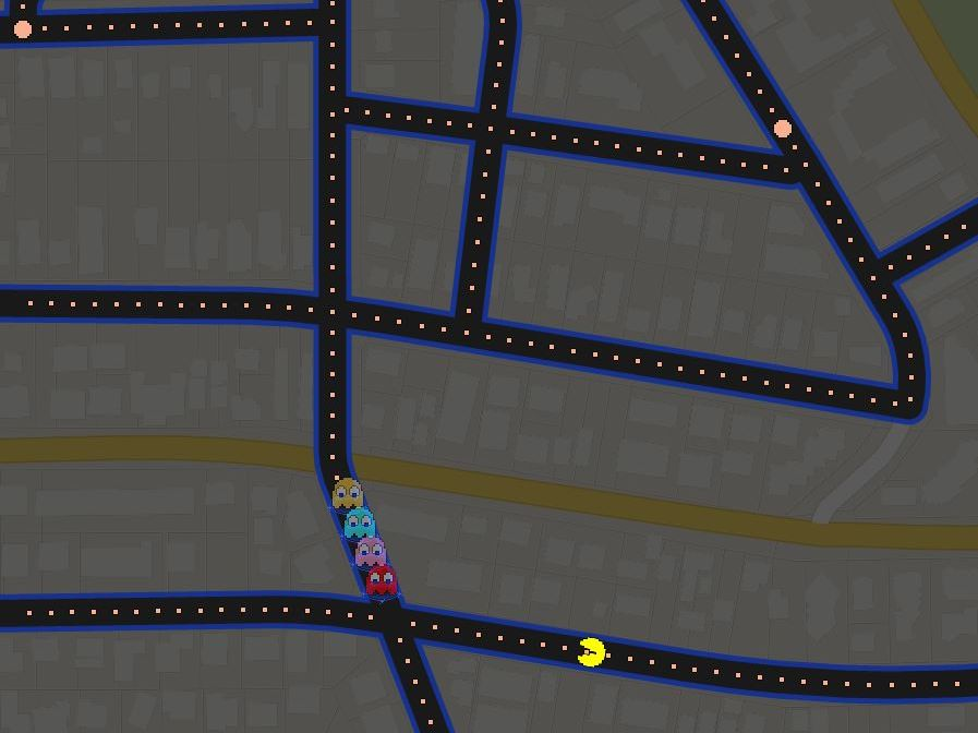 The streets of Maroochydore on the Sunshine Coast are transformed into a game of Pac-Man.