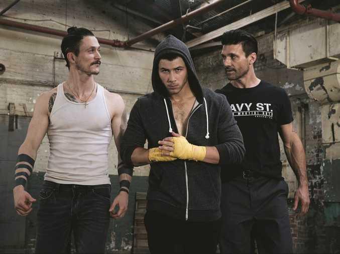 From left, Jonathan Tucker, Nick Jonas and Frank Grillo star in Kingdom.