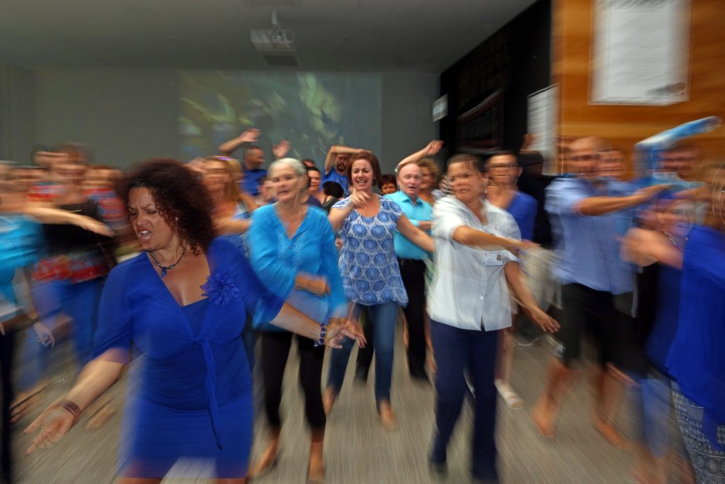 In recognition of World Autism Awareness Day a group of locals joined together to perform a dance flash mob at Coffs Central.