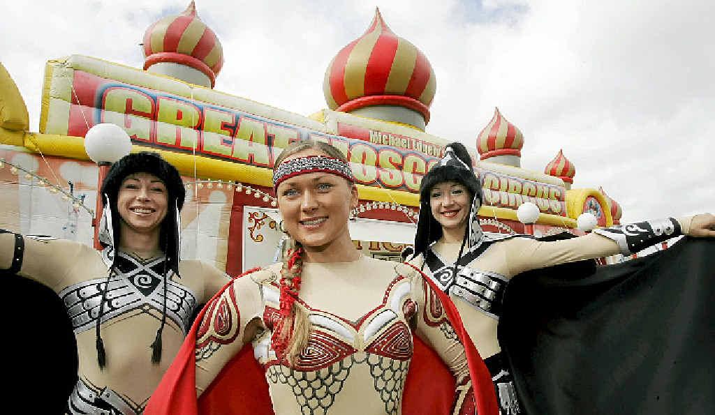 PERFORMANCE ON HOLD: Tatsiana Paltauskaya, Katya Martesivich and Oxana Belyaeva of the Great Moscow Circus.