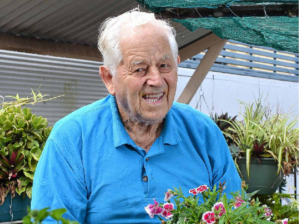 BEAUTY BUNNINGS!: War veteran and passionate gardener Bruce Managh, 94, was given a surprise party and gifts by Bunnings because he is such a loyal customer.