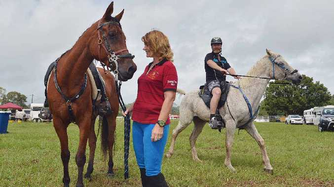 FAMILY EVENT: Husband and wife competitors Karen and Dan Winkel from Mount Mee. Karen is with 12-year-old Xanadu Barabbous and will be competing in the 320km marathon. Dan is on 13-year-old gelding Shardell Azeem and will be competing in the 80km ride.