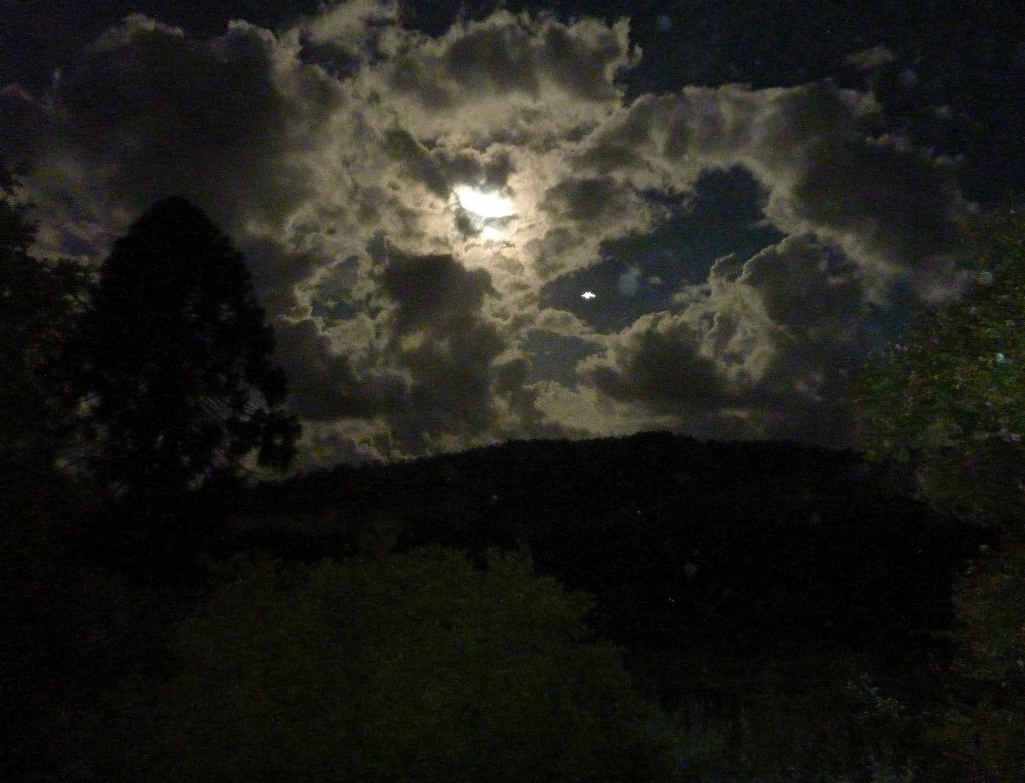 WHAT IS IT? Andrew Hanlon's photo containing a white mystery object at right just below the moon taken from his Cawongla home on January 30.