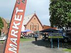 The new venue for the Grafton Farmer's Market in the grounds of Christ Church Cathedral.