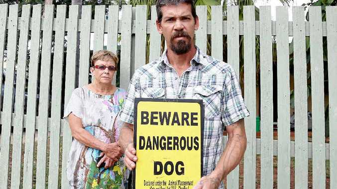 NOT MY DOGS: Matthew Tomkins is not happy with council blaming his dogs for a vicious dog attack, so he enlisted the help of Lyn Laskus.