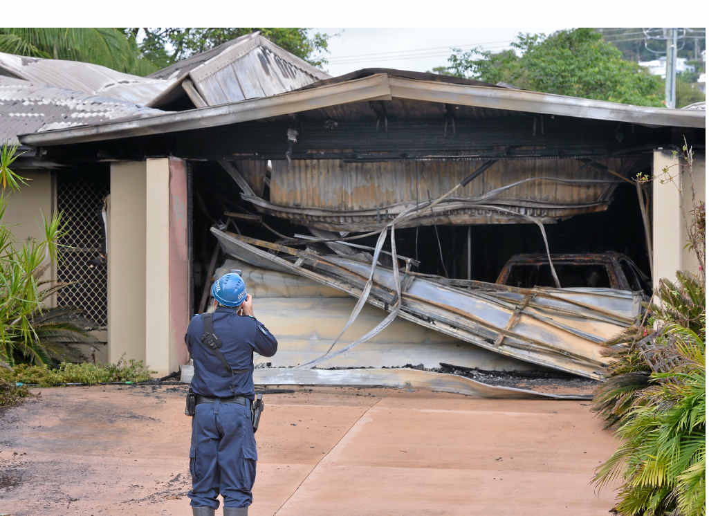 NARROW ESCAPE: The remains of the Palmyra Cres home in Buderim destroyed by fire.