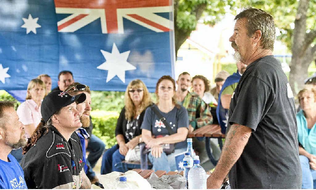 AUSTRALIA PROUD: Don Whitbread addresses the crowd at the Reclaim Australia Rally.
