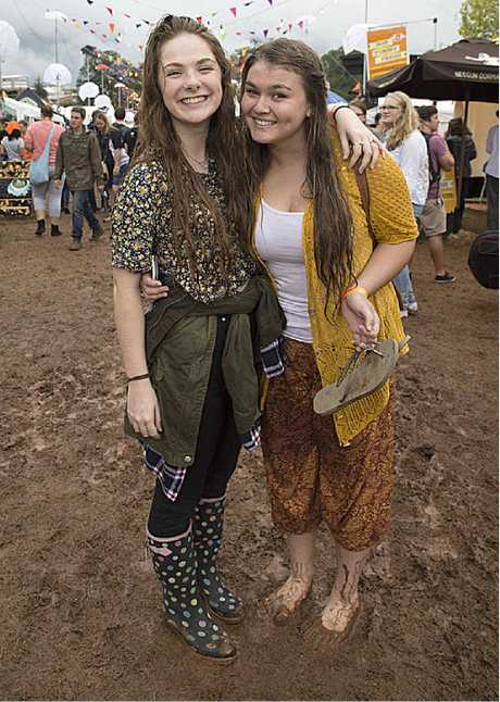 EASTER FUN: Millie McCann-Fowler (left) and Ellie Capuano get together at Easterfest.