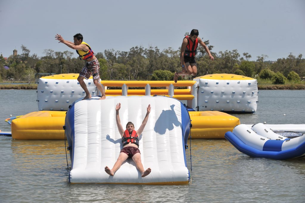 The aqua fun park at Bli Bli is a popular place for kids to cool off.