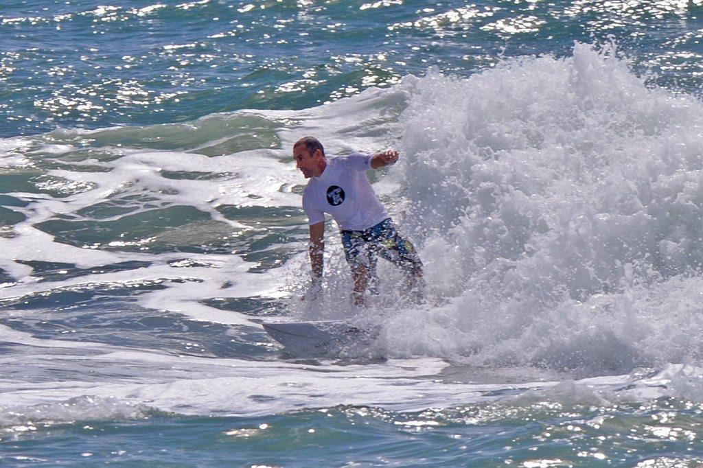 Ma and Pa Bendall at Moffat Beach. Masters heats. Dave Grant. Photo: John McCutcheon / Sunshine Coast Daily