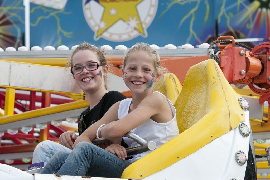 Susan McHugh (left) and Jemma Melia enjoy a ride.