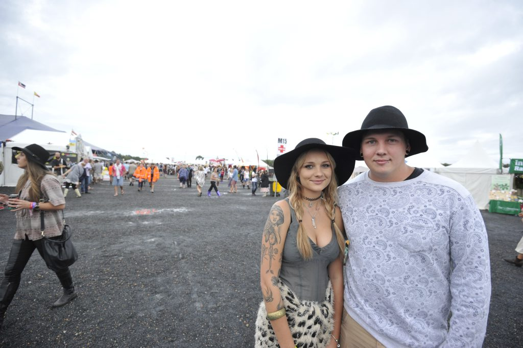 Dequila Hale and Jesse Craig, of Kingscliff, at the 2015 Byron Bay Bluesfest in Tyagarah. Photo Marc Stapelberg / The Northern Star