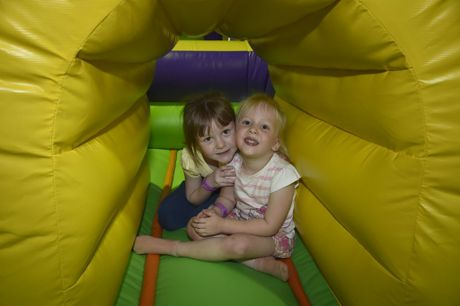 Taleiya Bryant (left) and Annabelle Handford try out the under 5's area. Inflatable World at the Toowoomba Indoor Sports Centre, Spencer Street. Photo Bev Lacey / The Chronicle