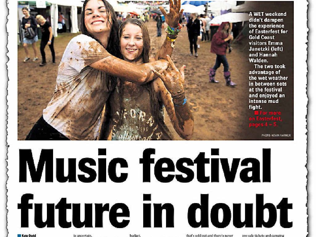 The Chronicle's front page report yesterday outlining Easterfest's problems.