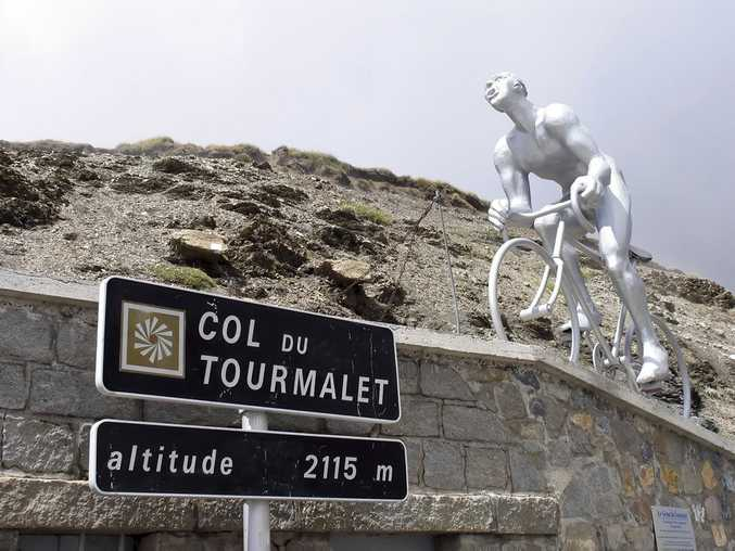 The summit of the Col du Tourmalet at 2115m, the highest point of the Etape du Tour 2012, with Le Geant du Tourmalet statue on the top.