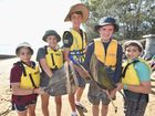 Scout jamboree at Aldershot - scouts spend the morning at Shelley Beach. (L) Ana Carvalho, Bec Orchard, Michael Smith, Garrett McVilly and Pedro Carvalho from The Gap in Brisbane.