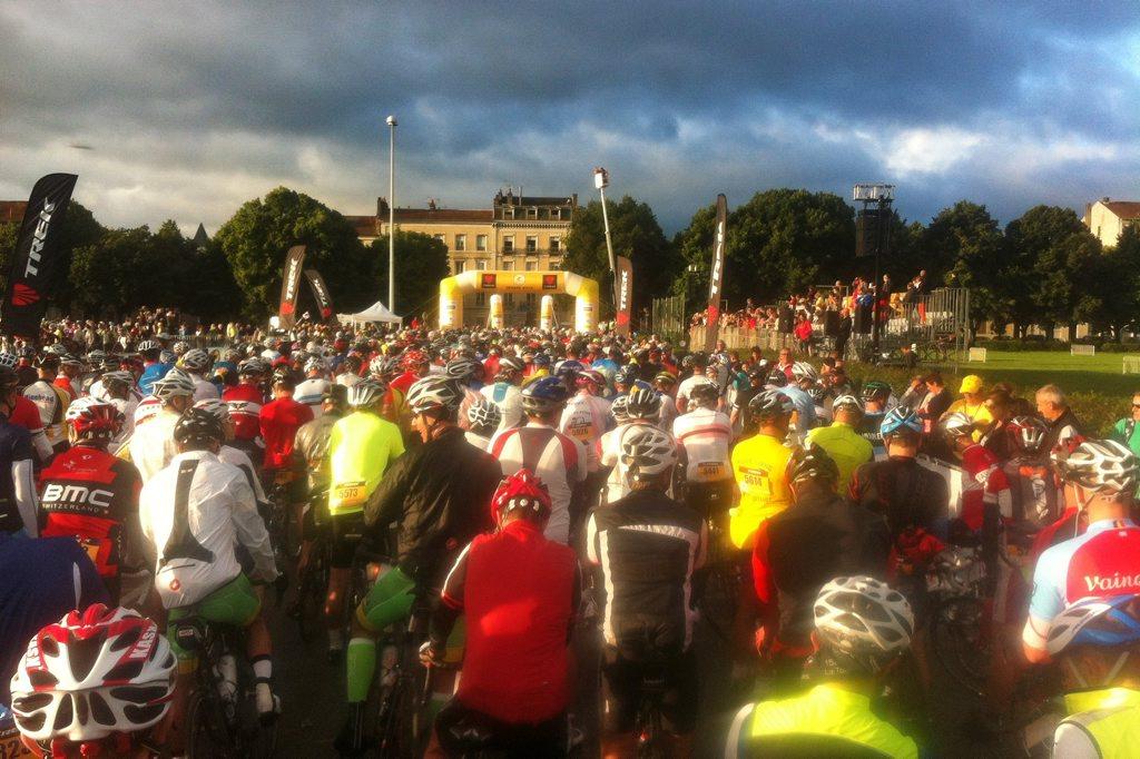 Start line in Pau for the 2014 Etape du Tour. Photo: Iain Curry.