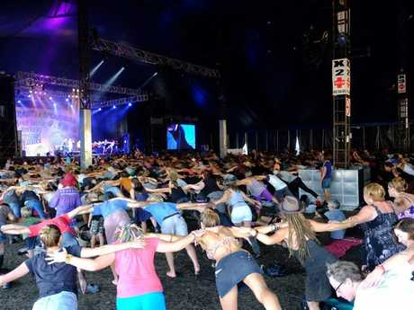 Michael Franti's Soulshine at Bluesfest. Yoga and Acoustic Jam .Photo : Mireille Merlet-Shaw/Northern Star