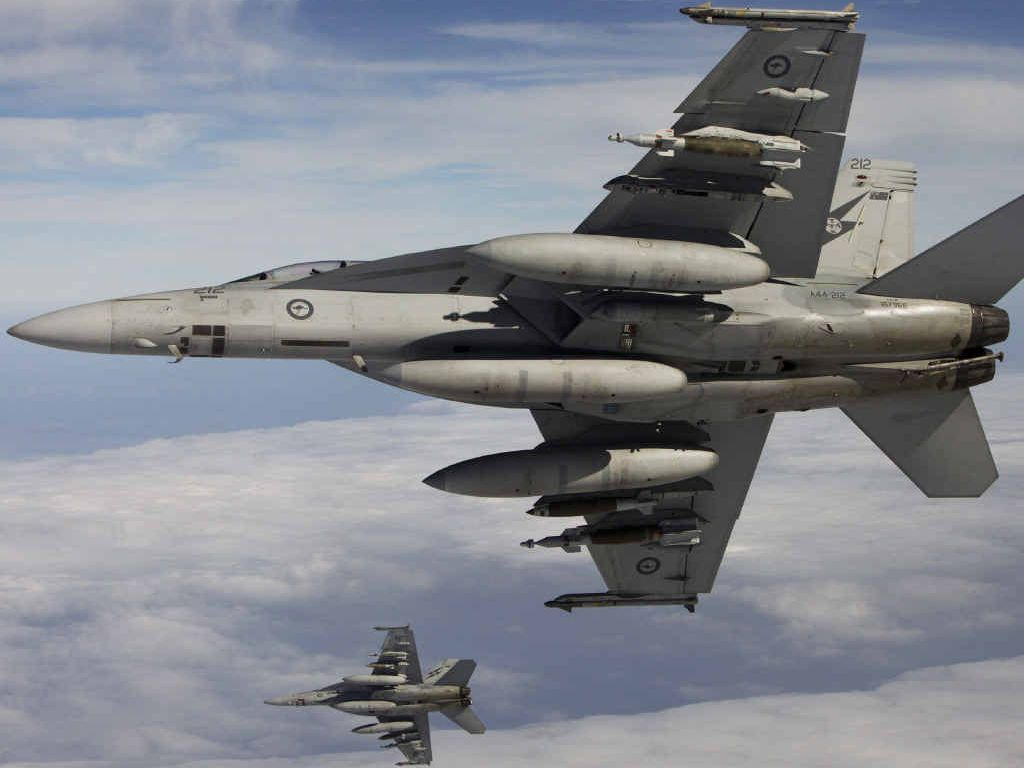 Two Royal Australian Air Force F/A-18F Super Hornets.