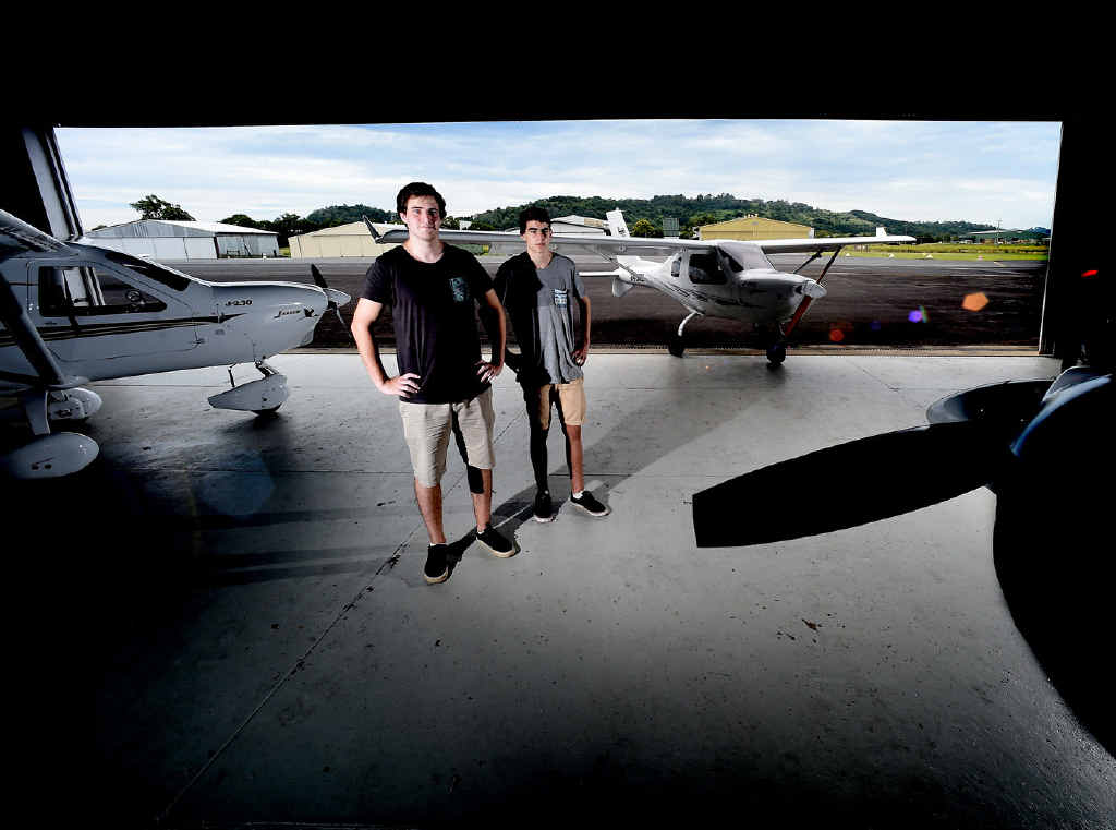UP, UP AND AWAY: Brothers Alex, 22, and 15-year-old Mitchell Holden, of Billinudgel, both earned pilot licences by age 15.