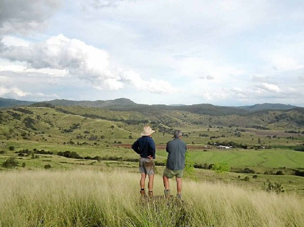 WHAT IF? Coalstoun Lakes farmers Kerry Dove and Steve Marshall ponder what the valley would look like with a permanent water supply.